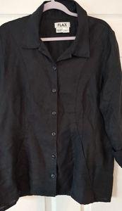 FLAX Top/ Jacket Lagenlook Linen Black Buttons